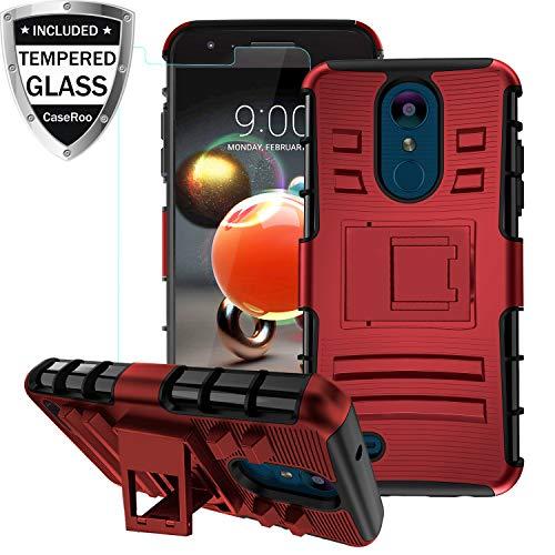 LG Aristo 2 Case,LG Tribute Dynasty/Zone 4/Aristo 3/Aristo 2 Plus/Phoenix 4/Rebel 4/Tribute Empire/Rebel 3/Fortune 2/K8+Case wTempered Glass Screen Protector,Kickstand Shockproof Protective Case,PCRed