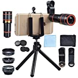 Cell Phone Camera Lens Kit, 4 in 1 12X Zoom Telescope, Camera Phone Lens with Tripod, Fish Eye Lens+ Wide Angle Lens+ Macro Lens for iPhone X 8 7 6 Plus Samsung Android Smartphone
