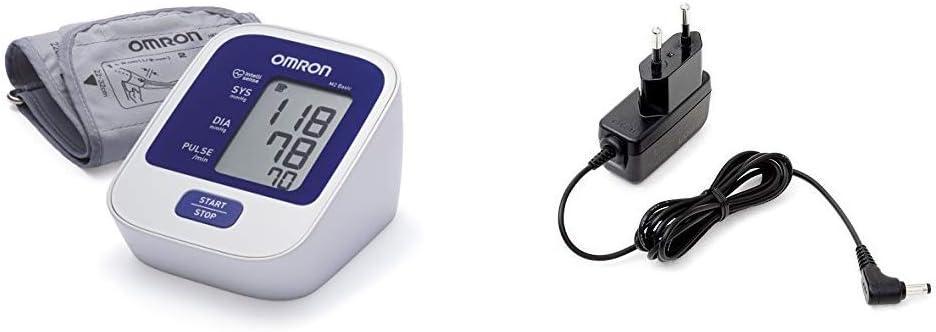 OMRON M2 BASIC - Tensiómetro de Brazo digital, Blanco y Azul + Adaptador de corriente AC para tensiómetro