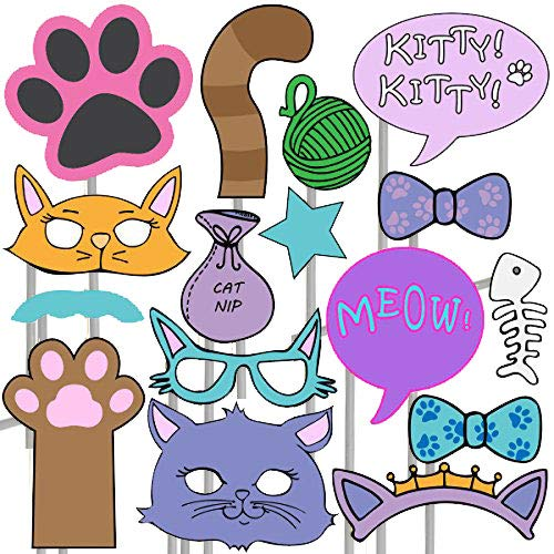 Kitten Photo Props (32 Pieces) for Photo Booths, Kids Birthdays, Cat Parties and More! Our Kitten Photo Prop Party Favors are Pre-Made (Not DIY) for Your Convenience!