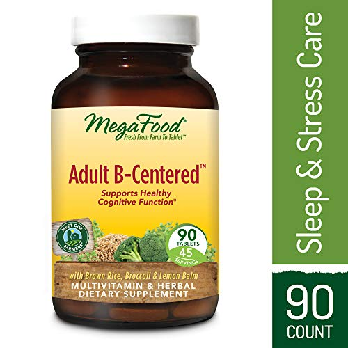MegaFood - Adult B-Centered, Support for Energy, Memory, Focus, Alertness, Relaxation, Cognition, and Relief from Fatigue and Stress, Methylated, Vegan, Gluten-Free, Non-GMO, 90 Tablets