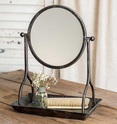 Dia Round Mirror Tray - CTW Country Rustic Theme Home Decor Bathroom Vanity Tray with Round Mirror