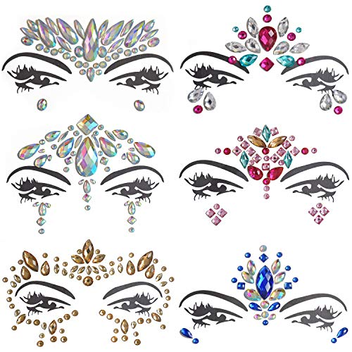 Inifty 6 Sets Women Rhinestone Mermaid Face & Breast Jewels Tattoos, Body Sticker Crystal Tears Gem Stones Bindi Temporary Stickers (Style 2) ()