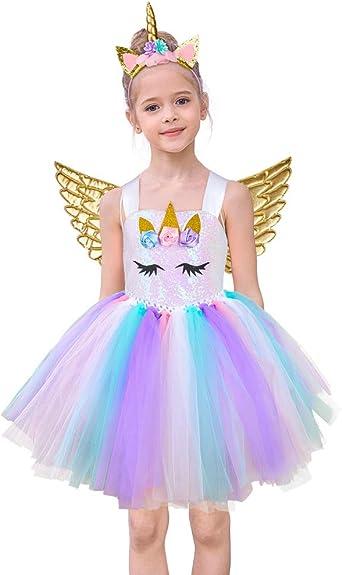 Play Tailor Girls Unicorn Tutu Dress Tulle Skirt with Headband Wings Sash 4-9Y