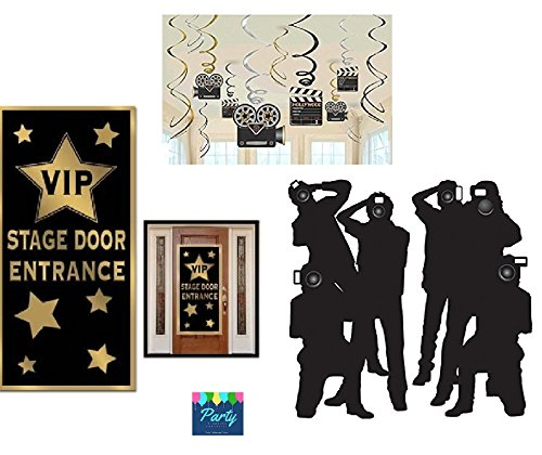Hollywood Red Carpet Awards Ceremony Party Theme Supplies and Decorating Pack - 3 Items - Paparazzi Props, VIP Entrance Door Cover And Movie Theme Foil Swirls With Cutouts (Awards Party Supplies)