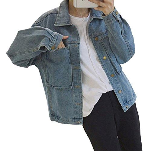 Mujeres Cazadora Vaquera Corto Chaquetas Jacket De Mezclilla Loose Fit Casual Manga Larga Abrigo Denim Jackets Zarco