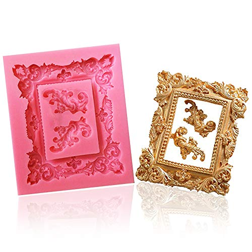 Large Retro Photo Frame Silicone Mold/Picture Frame Fondant Mold Cake Decoration Mold Candy Chocolate Mold By Palker sky