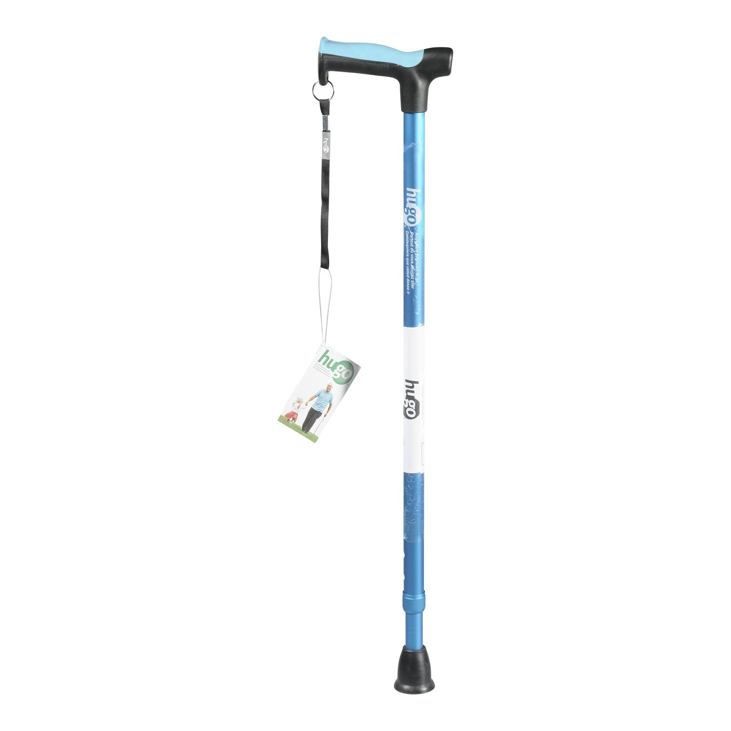 Hugo Mobility Adjustable Derby Handle Cane with Reflective Strap, Aquamarine