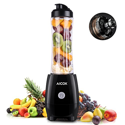 Aicok Personal Blender 300W, Single Serve Blender with Sport Tritan Cup, Mini Blender, Bullet Blender for Shakes and Smoothies, Smoothie Blender for Travel, Individual/Student, Black