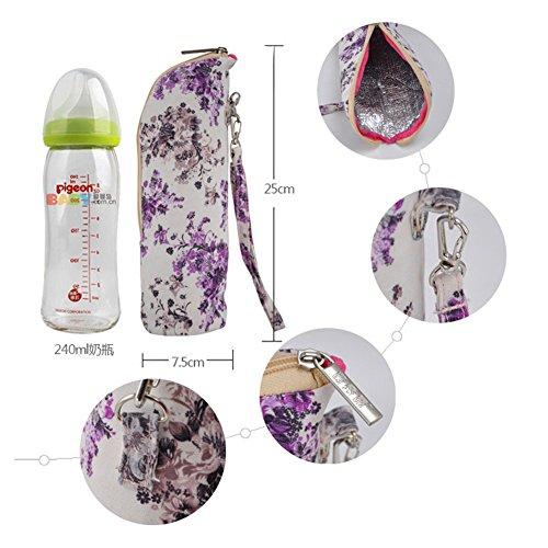 Multifunción Algodón 4pcs/Set Pañal de Bebé Bolsa de Momia Cambio de Sostenedor de Botella Bolsa de Mensajero del Hombro Portátil púrpura