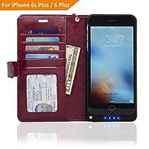 NAVOR Folio Wallet Power Battery Case 5000 mAh for iPhone 6 Plus / 6S Plus  [5.5 Inch] - Maroon (IP6PBTCMR)