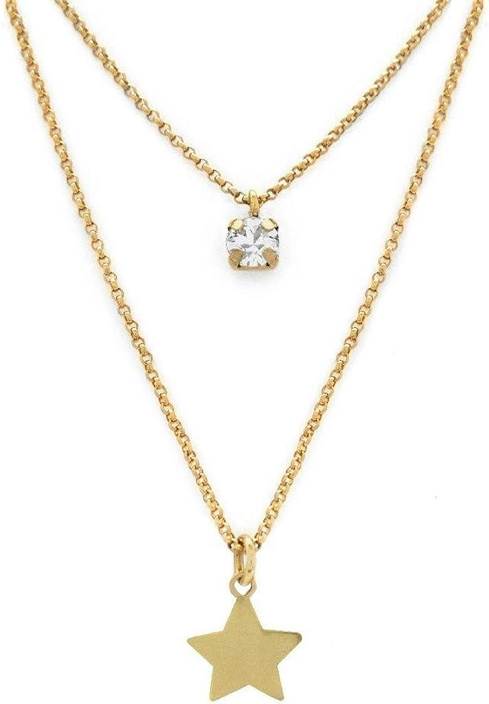 Colgante Mujer Victoria Cruz Plata IP Dorado Dos Cadenas Cristal Estrella medida 38/46 cm
