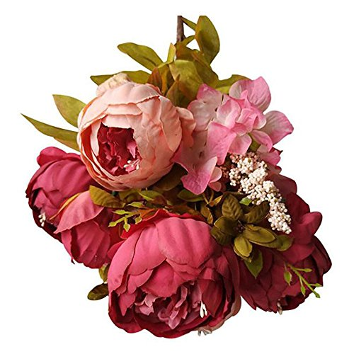 (Gotian 1 Bouquet Vintage Artificial Peony Silk Flowers Bouquet for Wedding Party Home Decor (Pink))