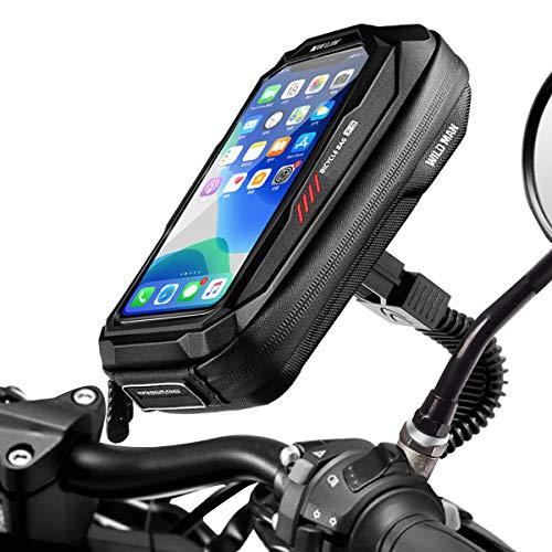 Faneam Impermeable Soporte Movil para Motocicle Scooter 360° Rotacion Soporte Telefono Motocicleta Retrovisor Universal Soporte para Telefonos Moto con Pantalla Tactil Sensible hasta 6 5 (Negro)