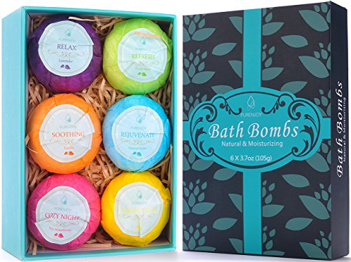 Bath Bombs, Birthday Anniversary Valentine's Day Gifts for Wife, Girlfriend, Her - 6 Large Natural Organic Relaxation Moisturizing SPA Fizzies With added Detox Ability by Aofmee (Pleasures Bath Gift)