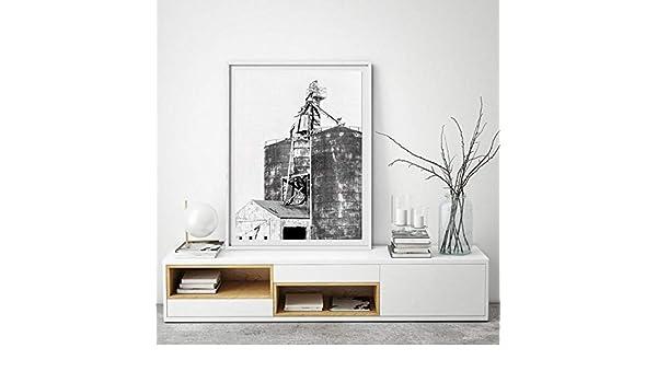 MFMing Impresiones rústicas del cartel del silo Decoración de la granja Contenedores de grano Maquinaria agrícola Arte en blanco y negro Pintura de la lona Estilo occidental del-30cm x40cm sin marco: Amazon.es: