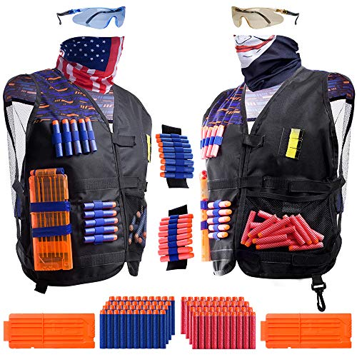 2 Pack Kids Tactical Vest Kit for Nerf War: 'Patriot VS Villain', 2 Set Accessories Compatible with Nerf Guns N-Strike Elite Series by Hely Cancy