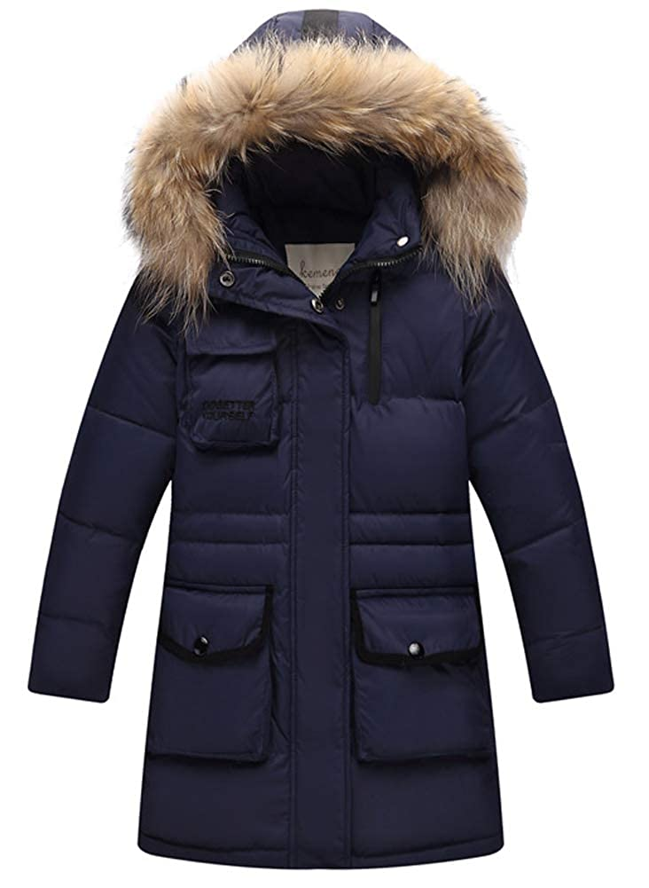 Kedera Big Boys Winter Parka Down Coat Puffer Jacket Padded with Fur Hood