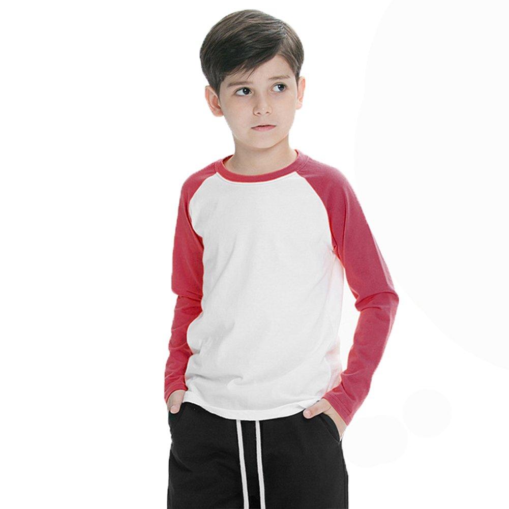 Coralup Boys' Raglan Baseball Cotton Long Sleeve T-Shirt(3-12 Years)
