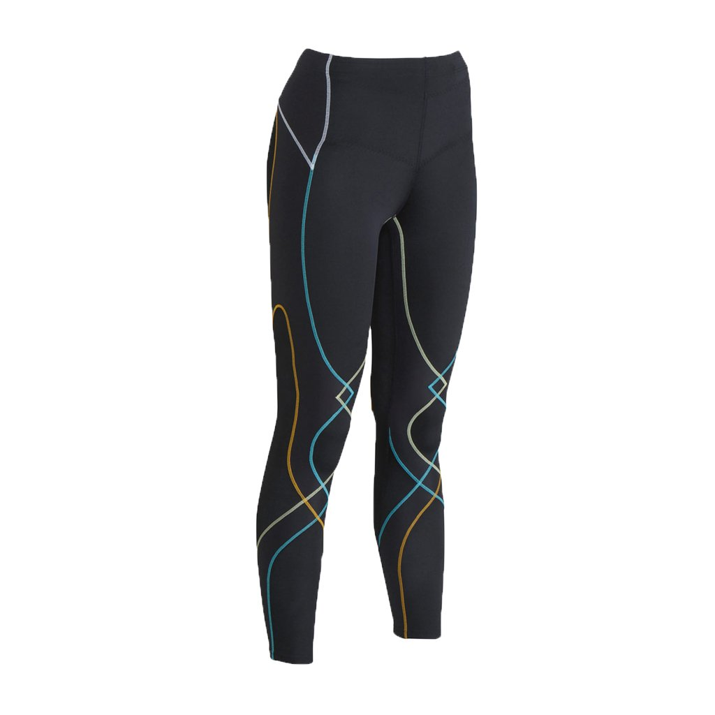 CW-X Women's Stabilyx Joint Support Compression Tight, Black/Bright Rainbow, Medium by CW-X