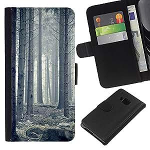 YiPhone /// Tirón de la caja Cartera de cuero con ranuras para tarjetas - Blanca Forrest - HTC One M9