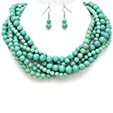 Statement Chunky Braided Strands Turquoise Beaded Women's Choker Necklace Earrings Jewelry Set Gift Bijoux