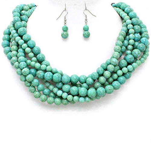 Statement Chunky Braided Strands Turquoise Beaded Women's Choker Necklace Earrings Jewelry Set Gift Bijoux by Affordable wedding jewelry, Esmor
