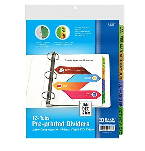 6 Pk, BAZIC 3-Ring Binder Dividers W/ 12-Preprinted Jan-Dec Tab (Preprinted Colored Dividers Index)