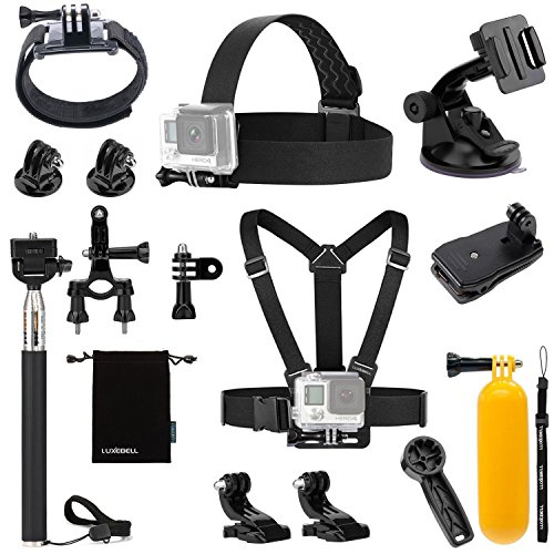 Luxebell Accessories Kit for AKASO EK5000 EK7000 4K WIFI Action Camera Gopro Hero 5/Session 5/Hero 4/3+/3/2/1 (12-in-1) by Luxebell