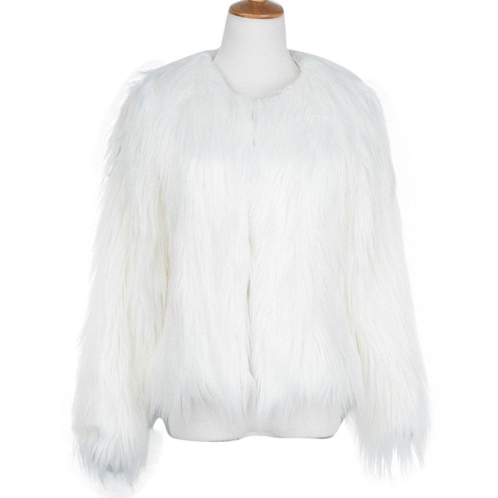 Kulywon New Ladies Womens Warm Faux Fur Fox Coat Jacket Winter Parka Outerwear