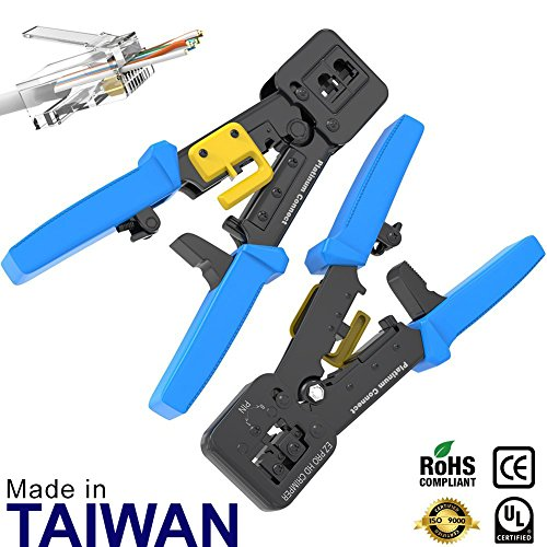 RJ45 Crimp Tool for EZ Pass-through and legacy connectors | Professional High Performance Crimper Tool (Tool Crimp Crimper)