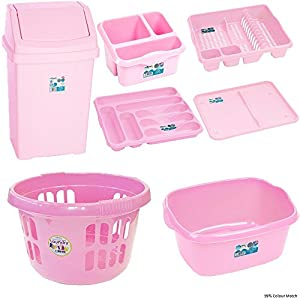 Beautiful 7 Pc Kitchen Waste Bin And Basket Set   Baby Light Pink (Includes   50L  Bin, Washing Bowl, Drainer, Cutlery Tray , Sink Tidy , Dish Drainer Tray,  ...