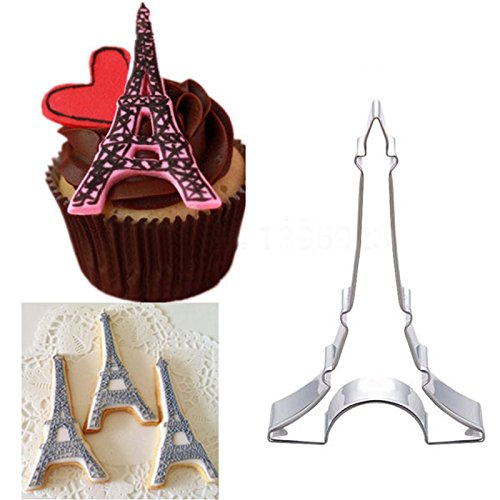 Saasiiyo New Stainless Steel Cookie Cutters Eiffel Tower Sushi Biscuit Cake Fruit Vegetable Mold Mold