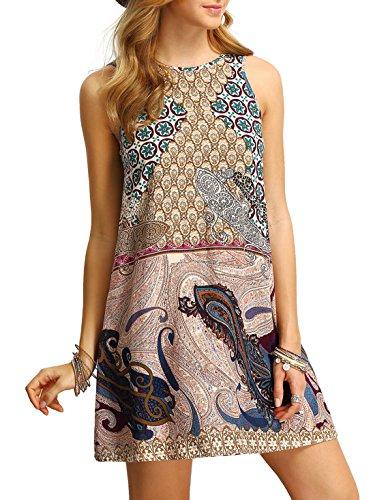 2ac65e7766e MAKEMECHIC Women s Sleeveless Sundress Boho Beach Tunic Summer Tank Dress
