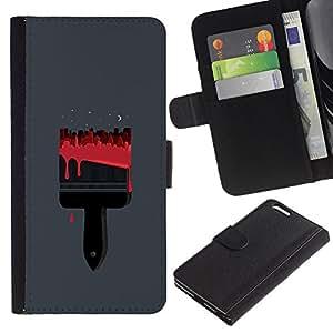 EJOY---La carpeta del tirón la caja de cuero de alta calidad de la PU Caso protector / Apple Iphone 6 PLUS 5.5 / --Pintura roja minimalista Polígono calle
