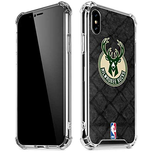 Skinit Milwaukee Bucks Rusted Dark iPhone XR Clear Case - Officially Licensed NBA Phone Case Clear - Transparent iPhone XR Cover
