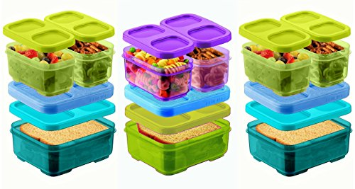 Rubbermaid Lunch Blox Sandwich Kits (2) Blue/Green kits, (1) Green/Purple (Wide Sandwich)