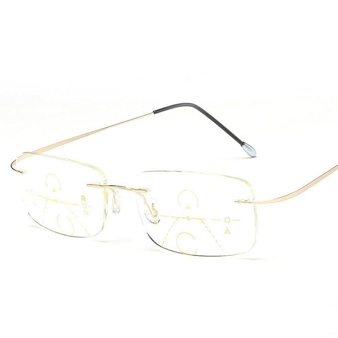 56def8a9454 MINCL Rimless Progressive Multifocal Reading Glasses Fashion Very Light  Adjustable Vision Eyewear (0ADD+