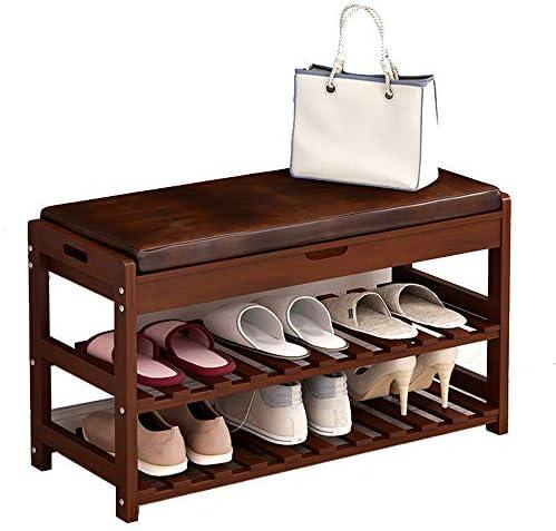 玄関ベンチ スツール 収納ベンチ 靴収納 ベンチ ソリッドウッド靴クッション付玄関の靴の収納家庭用棚靴ベンチラック エントランスベンチ 省スペース (色 : As picture, サイズ : 73.5X30X45CM)
