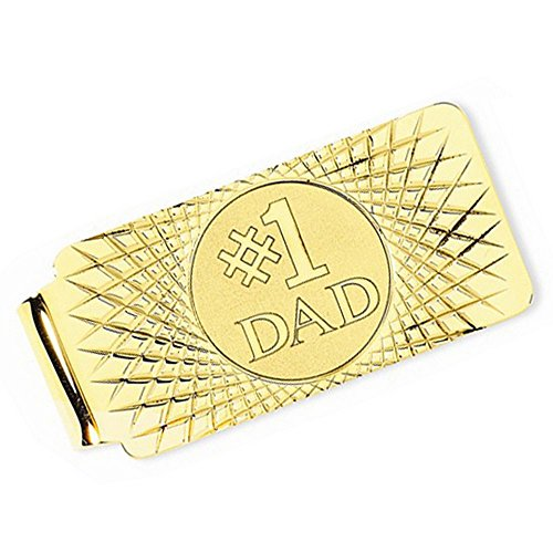 Number One Dad Money Clip Plain Metal 14k Yellow Gold by TheJewelryMaster