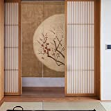 Cheap RH Art Vintage Japanese Doorway Curtain Red Wintersweet at Moonlit Night, Brown