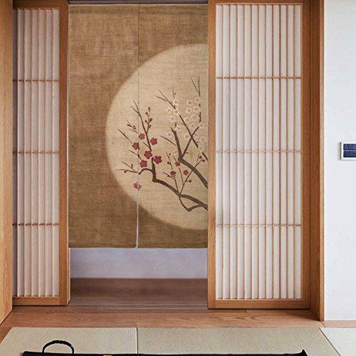 RH Art Vintage Japanese Doorway Curtain Red Wintersweet at Moonlit Night, Brown