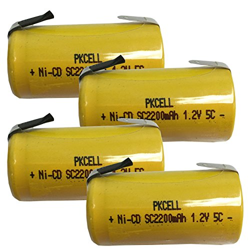 1.2V SC 2200mAh NI-CD Rechargeable Battery Flat Top with Tabs 4Pcs