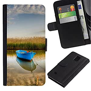 KingStore / Leather Etui en cuir / Samsung Galaxy Note 4 IV / Naturaleza Barco