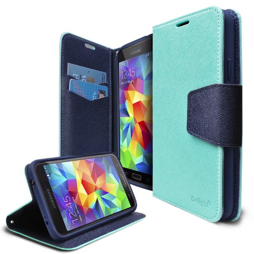 [FREE HD Film] Ringke DELIGHT® Galaxy S5 Funda Flip Cover **NEW RELEASE** FREE Premium HD Clear Protector Pantalla Included [MINT]Best Selling Premium PU Saffiano Leather