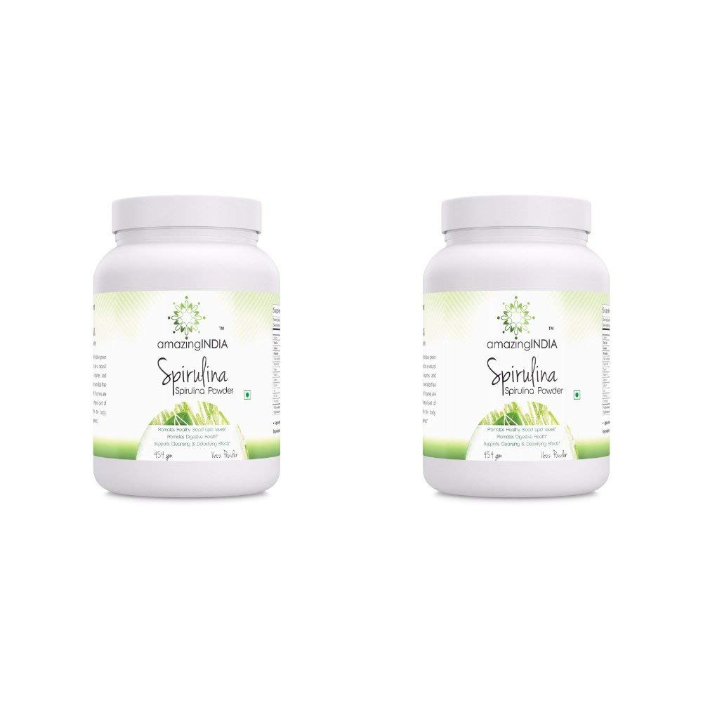 Amazing India Spirulina Powder 16 oz (454 gm) - Supports Cell Regeneration, Immune Health, Detoxification & Overall Health (Pack of 2)