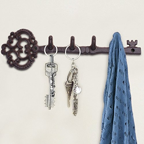 """Kloud City Antique Style Cast Iron Wall Key Hanger with 4 Hooks for Coat Hat Key Towel Clothes Apron Wall Mounted Vintage Hook Home Décor 12"""" with Screws and Anchors"""