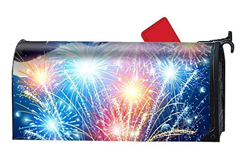 Picket Fence Flag with Colored Fireworks Magnetic Mailbox Cover Magnetic Mailbox Cover 6.5