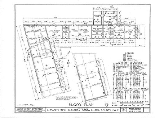 (Historic Pictoric Blueprint Diagram HABS Cal,43-ALMA,1- (Sheet 2 of 16) - New Almaden Quicksilver Mine, New Almaden Quicksilver Mine County Park, New Almaden, Santa Clara County, CA 14in x 11in)