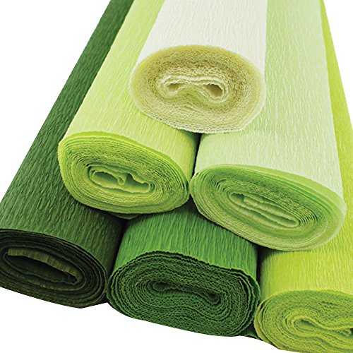 Just Artifacts Premium Crepe Paper Rolls - 8ft Length/20in Width (6pcs, Color Shades of Green) by Just Artifacts